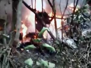 Vídeo mostra helicóptero em chamas minutos após acidente matar cinco em Bertioga, SP (Foto: Reprodução/G1)