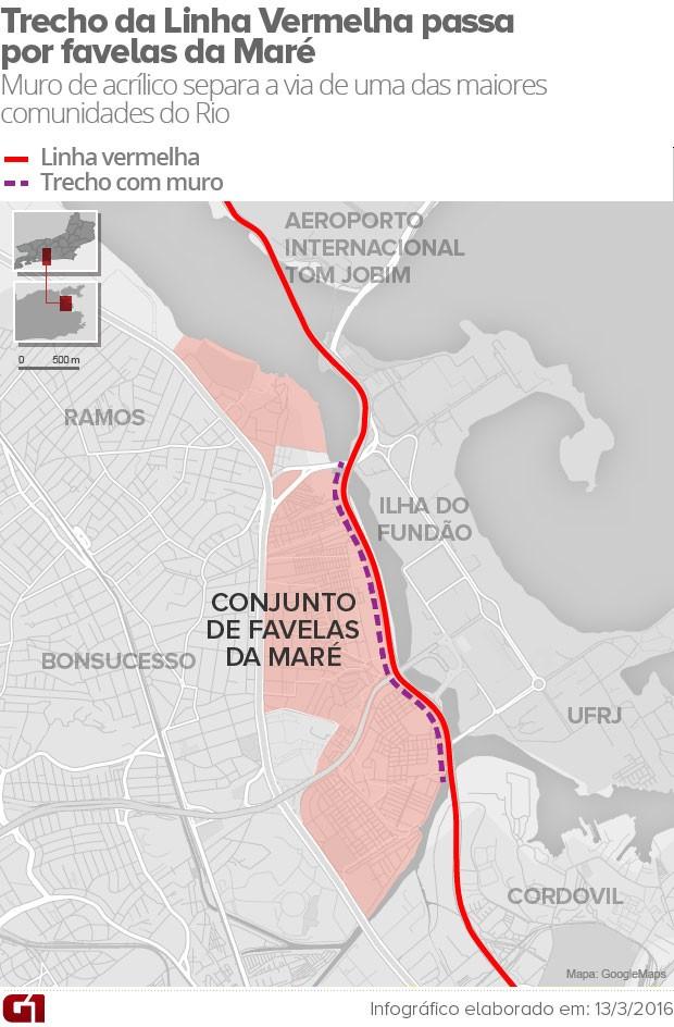 Arte mostra Linha Vermelha e o Conjunto de Favelas da Maré (Foto: Editoria de Arte/G1)