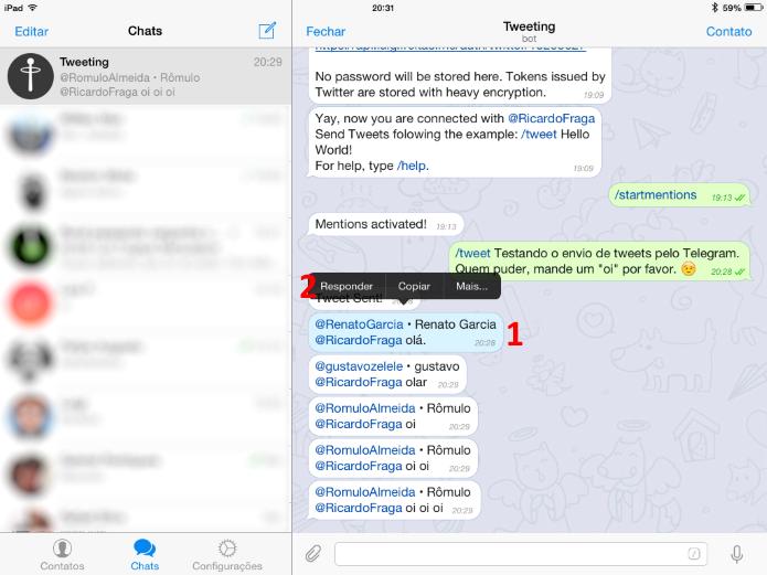 Para responder no iOS, basta tocar na mensagem e, em seguida, em Responder (Foto: Reprodução/Ricardo Fraga)