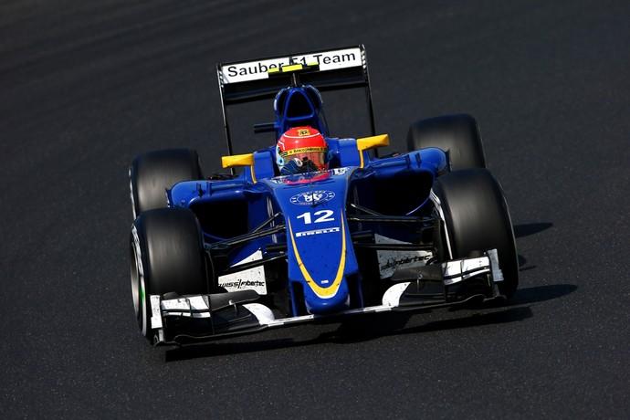 Felipe Nasr guia a Sauber na pista da Hungria: brasileiro terminou em 11º, sem pontos (Foto: Getty Images)