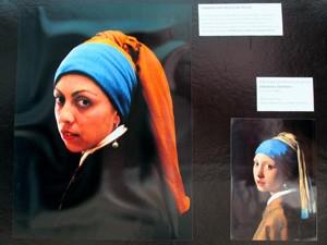 Professora também entrou na brincadeira com o quadro de Johannes Vermeer (Foto: Mariane Rossi/G1)