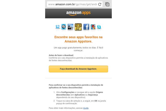 Faça download do App direto do site da Amazon (Foto: Thiago Barros/Reprodução)