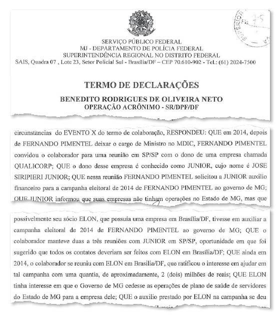 Em depoimento, Bené diz que Pimentel procurou Seripieri em busca de ajuda na campanha (Foto: Reprodução)