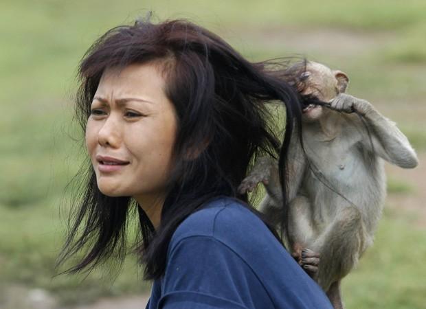 Macaco puxa cabelo de turista e morde, em brincadeira durante festival na Tailândia (Foto: Chaiwat Subprasom/Reuters)
