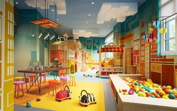 Sala de brinquedos para crianças do 70 Vestry, prédio de luxo em Nova York (Foto: Divulgação/Related)