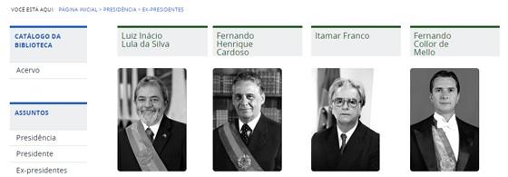 Galeria de ex-presidentes em site da Biblioteca Nacional (Foto: Reprodução)