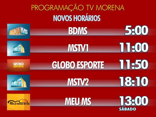 Infografico com os novos horários dos telejornais da TV Morena em Mato Grosso do Sul (Foto: Videografismo/TV Morena)