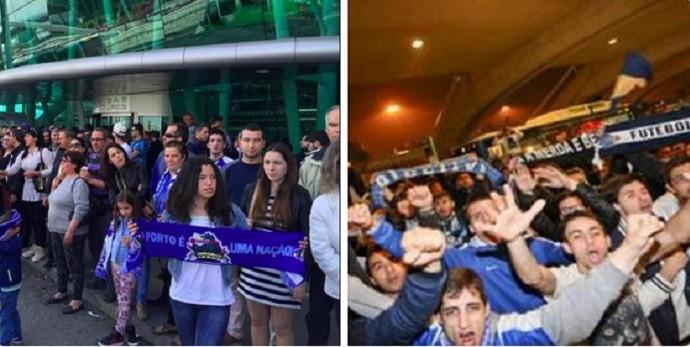 Torcedores do Porto recebem o time no aeroporto (Foto: Reprodução Twitter)