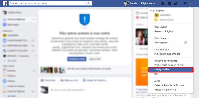 Vá nas configurações do Facebook (Foto: Reprodução/Camila Peres)