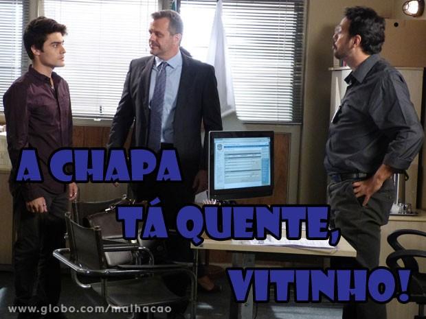 VISH! Vai sobrar pro Vitinho! Se liga na cara de tensão do gato... (Foto: Malhação / Tv Globo)
