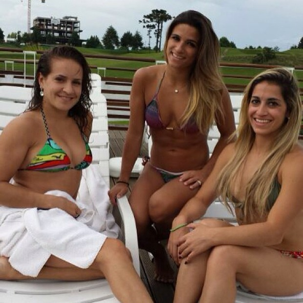 Jade Barbosa com Daniele Hypólito e outra amiga (Foto: Instagram / Reprodução)
