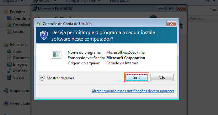 Autorizando o Microsoft Fix it 50267 (Foto: Reprodução/Edivaldo Brito)