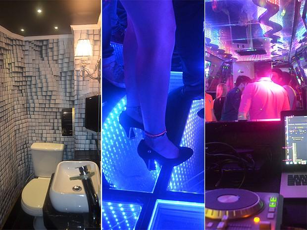 O banheiro decorado, o chão espelhado, e a cabine do DJ valorizam o espaço (Foto: Amanda Pioli/G1)