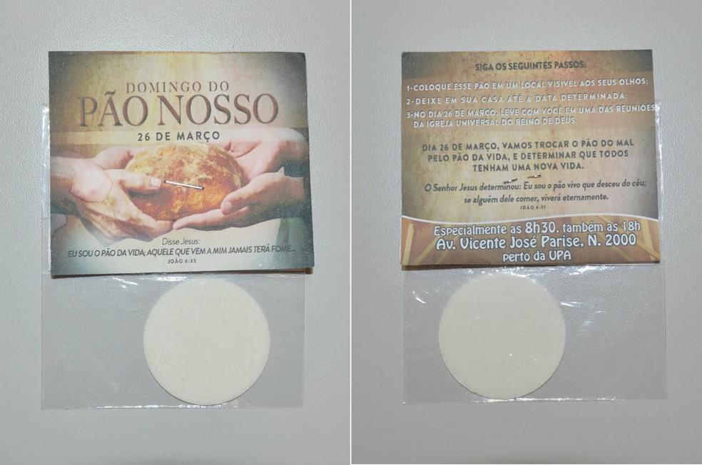 Folhetos com hóstias foram distribuídas aos moradores em Taquaritinga (Foto: Adriano Oliveira/G1)