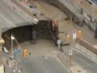 Asfalto cede e abre cratera na cidade de Ottawa, no Canadá