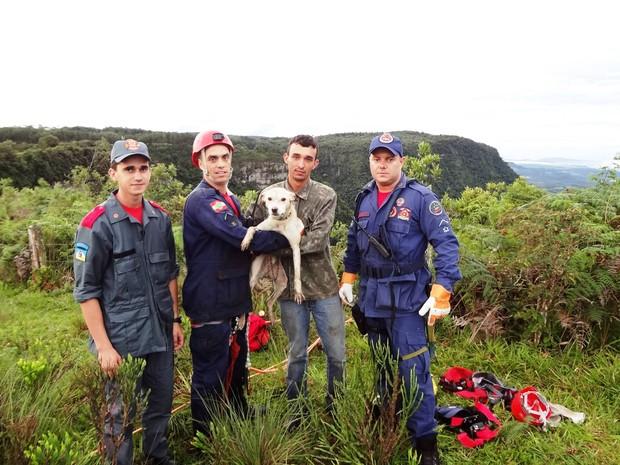 Chico foi salvo por bombeiros de Pouso Redondo (Foto: Corpo de Bombeiros/Divulgação)