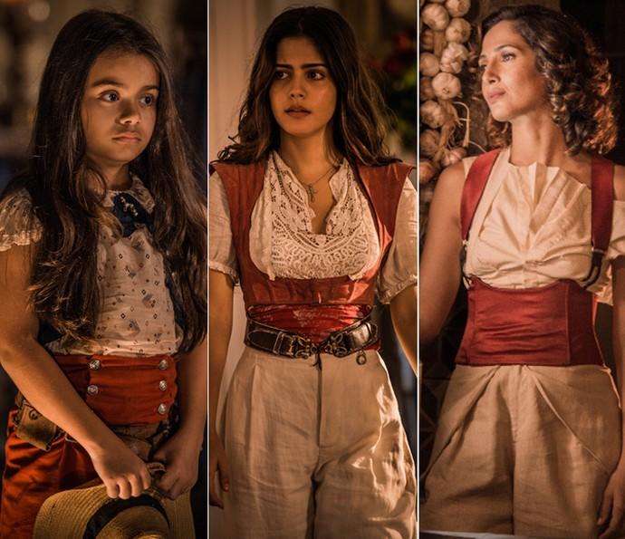 Isabella Aguiar, Julia Dalavia e Camila Pitanga compartilham a guerreira Maria Tereza de Sá Ribeiro (Foto: Caiuá Franco/ Globo)