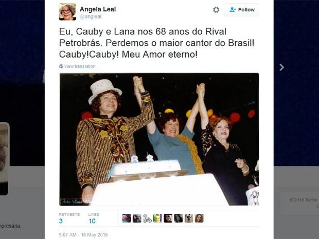 Atriz Angela Leal publicou homenagem a Cauby Peixoto (Foto: Reprodução/Twitter)