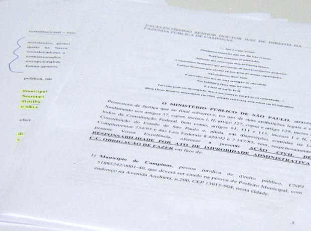 Ação do MP de Campinas foi entregue à Justiça  (Foto: Reprodução / EPTV)
