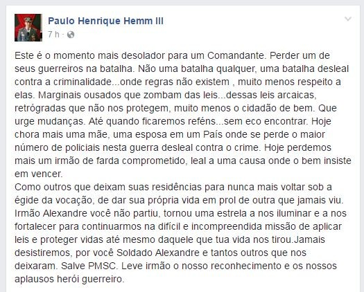 Coronel Paulo Henrique Hemm lamentou a morte do agente (Foto: Facebook/Reprodução)