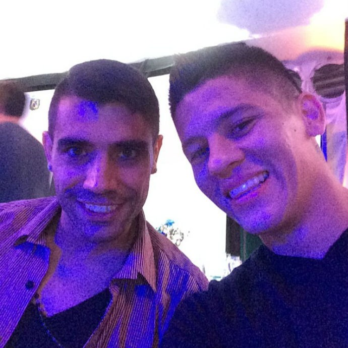 Marcos Rojo e Augusto Fernández em jantar da seleção argentina (Foto: Reprodução/Instagram)