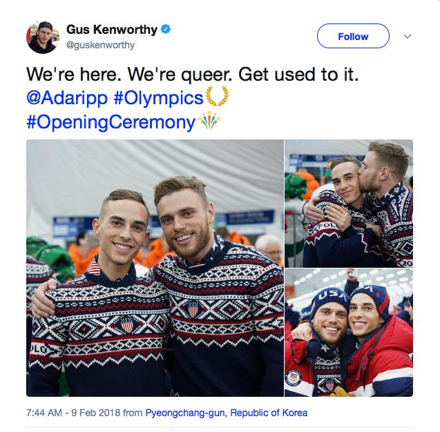 A mensagem do esquiador Gus Kenworthy em fotos em que ele aparece com seu namorado, o patinador Adam Rippon (Foto: Twitter)