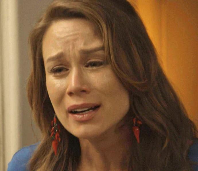 Tancinha fica muito emocionada ao se lembrar de tudo o que aconteceu (Foto: TV Globo)
