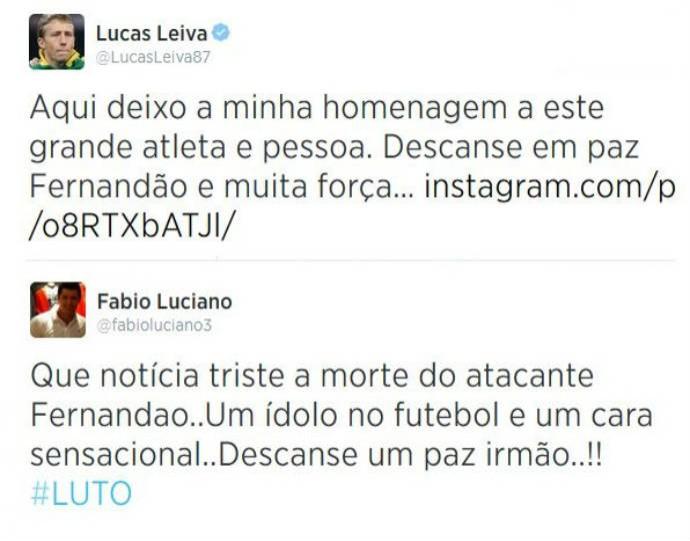 Lucas e Fabio Luciano prestam homenagem a Fernandão (Foto: Reprodução)