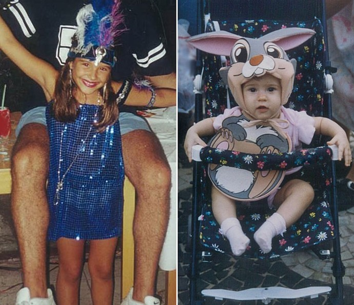 Fofuras! Juliana Paiva e Olívia aparecem fantasiadas na infância (Foto: Arquivo pessoal)