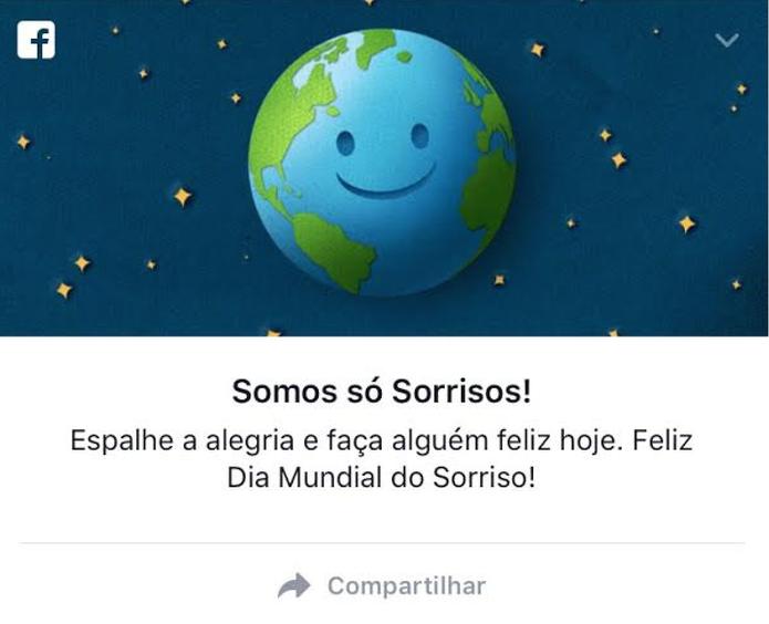 Facebook celebra Dia Mundial do Sorriso (Foto: Reprodução/Camila Peres)
