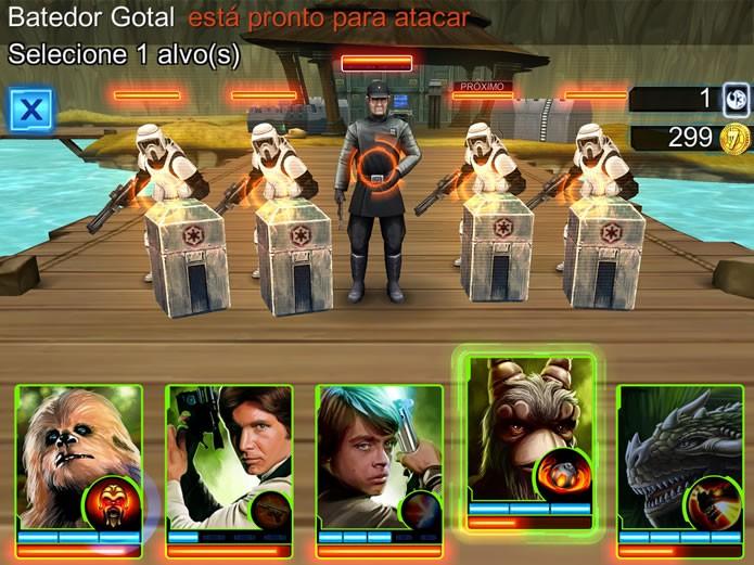 O game permite que o jogador monte equipes com heróis, vilões, criaturas ou robôs da saga Star Wars (Foto: Reprodução/Daniel Ribeiro)