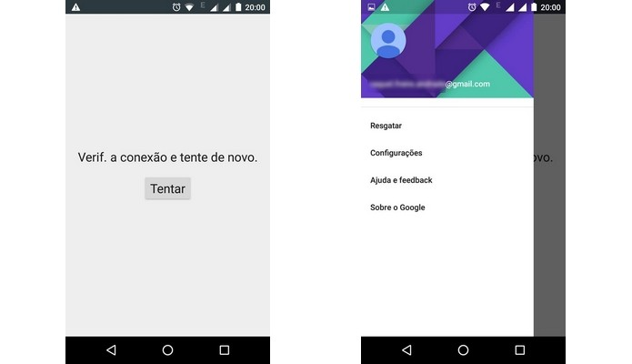 pantallas de fallo en la conexión de Google Play Store (Foto: Reproducción / Raquel Freire)