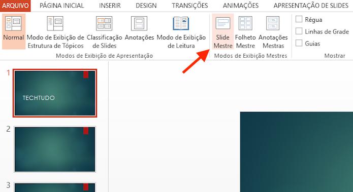 Acessando as opções para slide mestre no Microsoft Powerpoint (Foto: Reprodução/Marvin Costa)