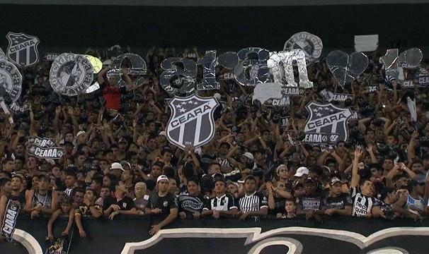 Torcida do Ceará está confiante na vitória no primeiro jogo fora de casa. (Foto: TV Verdes Mares/Reprodução)