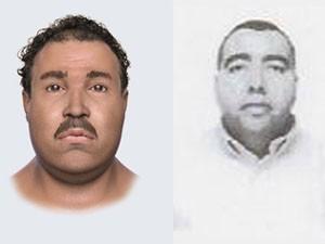 Reconstituição do rosto do esquartejado (à esq.) e foto do motorista Álvaro Pedroso (Foto: Reprodução)
