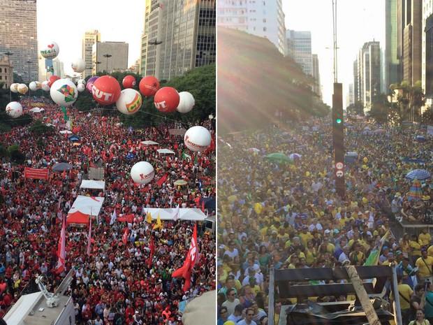 Fotos tiradas por volta de 17h30 no Vale do Anhangabaú e na Avenida Paulista. (Foto: Glauco Araújo e Paulo Toledo Piza/G1)