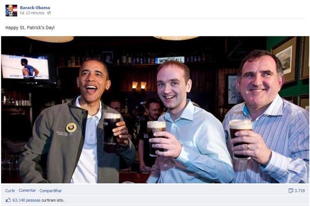 Em poucos minutos, foto de Barack Obama no Dia de São Patrício foi curtida por mais de 60 mil pessoas (Foto: Reprodução)