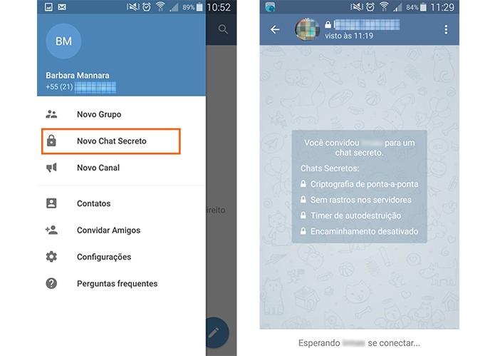 Inicie um chat secreto com um contato no Telegram (Foto: Reprodução/Barbara Mannara)