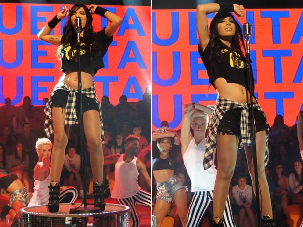 Anitta mostra que está em boa forma com barriguinha de fora (Foto: Esquenta/TV Globo)