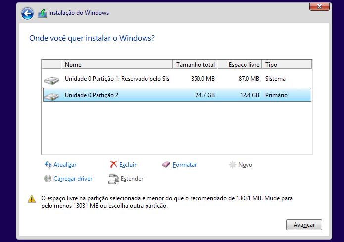 Selecionando a partição onde o Windows 8 será instalado (Foto: Reprodução/Edivaldo Brito)