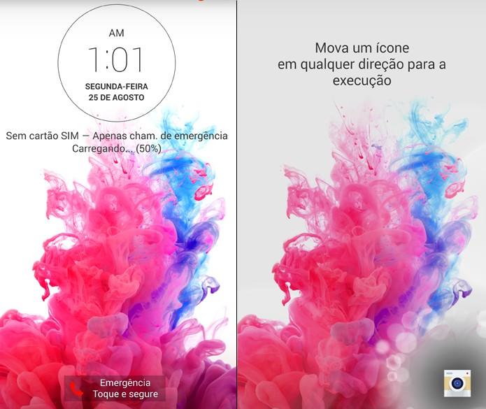 LG G3 permite abrir ícones direto da tela bloqueda; recurso ajuda a poupar tempo. (Foto: Reprodução/Lucas Mendes)