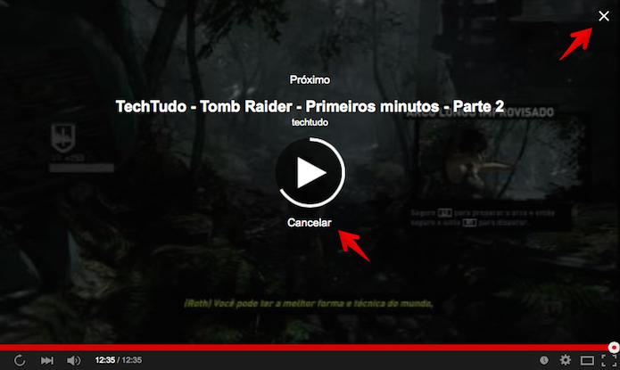 Cancelando a execução do próximo vídeo (Foto: Reprodução/Helito Bijora)