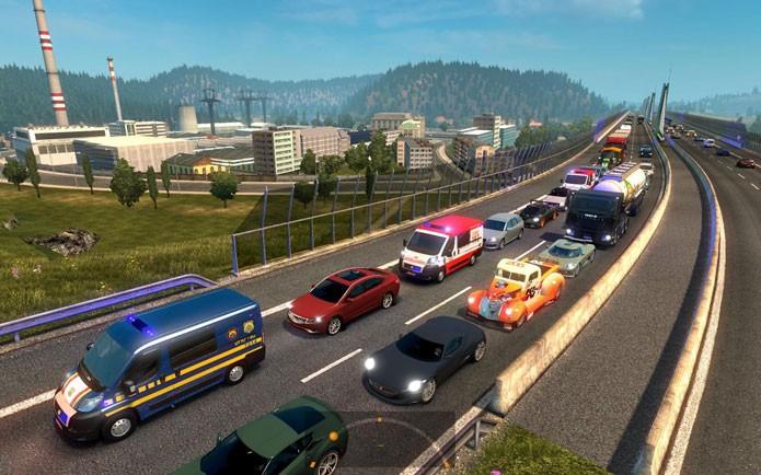 Combine o mod de passageiros com o de trafego realista para deixar o jogo mais desafiador (Foto: Reprodução/ETS2World)