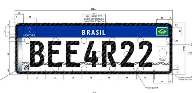 Novo modelo brasileiro de placa com padrão do Mercosul (Foto: Reprodução)