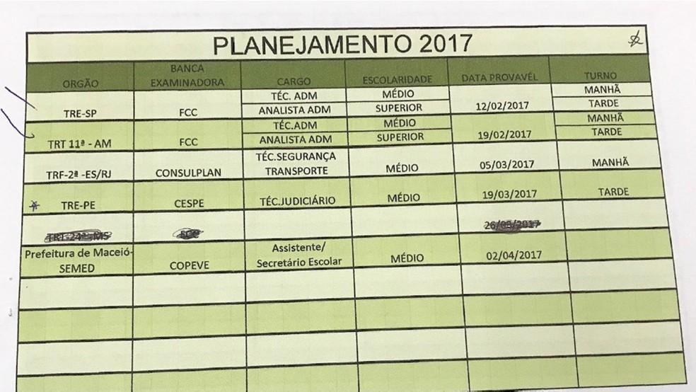 Anotação apreendida pela Polícia Civil na 1ª fase mostra concursos que grupo planejava fraudar em 2017 (Foto: Reprodução/Relatório da Polícia Civil)
