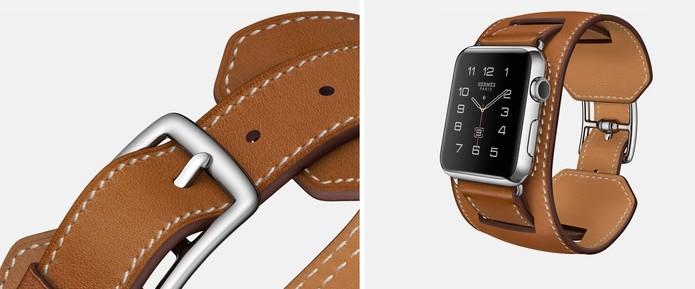 04d0ad26d94 Modelo com pulseira larga em couro marrom no Apple Watch (Foto  Divulgação  Apple