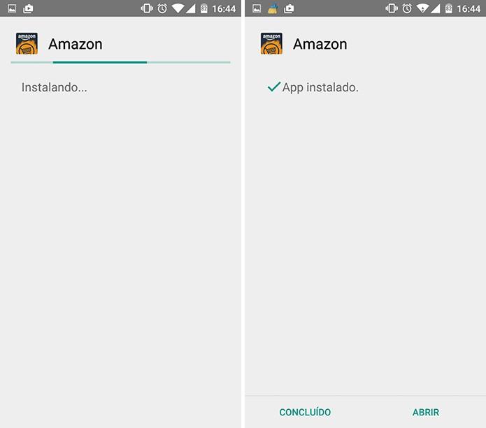 Usuário pode escolher entre abrir ou não a Amazon AppStore após a instalação no Android (Foto: Reprodução/Elson de Souza)