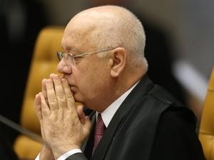 O ministro Teori Zavascki durante sessão do Supremo Tribunal Federal (STF), em Brasília, em dezembro de 2016 (Foto: Dida Sampaio/Estadão Conteúdo/Arquivo)