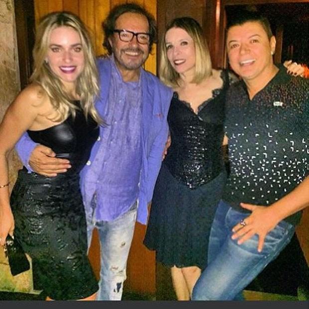 Monique Alfradique, Wolf Maya, Liege Monteiro e David Brazil em festa no Rio (Foto: Instagram/ Reprodução)