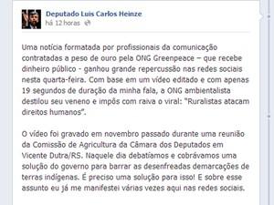 Deputado federal do PP gaúcho publicou texto se defendendo de polêmica após vídeo (Foto: Reprodução/Facebook)
